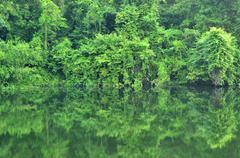 kwa river in kanchanaburi, thailand - stock photo
