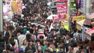 Stock Video Footage of Busy shopping street, pedestrians, people, culture, youth, Tokyo, Japan