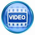 Film icon blue, isolated on white background. Stock Illustration