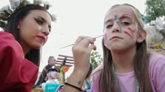 Makeup for kids carnival. Stock Footage