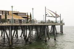 pier and restaurant - stock photo