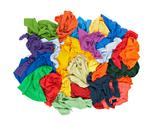 Messy colorful clothes from above Stock Photos