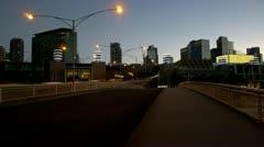 Moving traffic on a city bridge Stock Footage