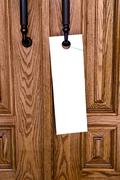 Blank doorknob advertisement Stock Photos