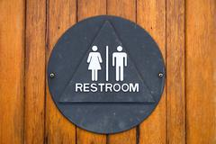 Brass restroom sign Stock Photos