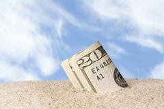 lost cash at beach - stock photo
