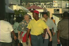 St. Thomas, The Virgin Islands, people on the street, locals, ship passengers Stock Footage