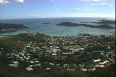 St. Thomas, The Virgin Islands, high view out of city and harbor, backlighting Stock Footage