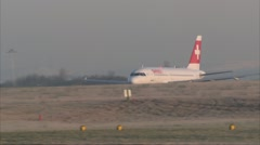 Passenger plane airport takeoff - Swiss Air A319 HB-IPX 1920x1080 Stock Footage