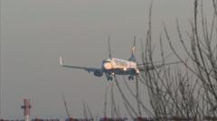 Passenger plane airport landing - Ryanair B737, EI-DCF 1920x1080 Stock Footage
