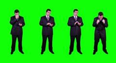 4K Young Businessman Full Body Phone Bad Good News Bundle Greenscreen Stock Footage