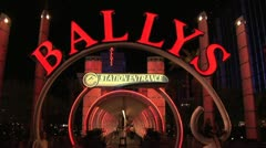Ballys Casino Entrance As It Looks at Night Stock Footage