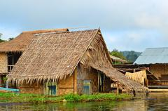 Floating house, kwai river, thailand Stock Photos