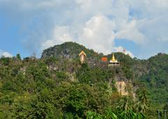 temple on the moutain thong pha phom temple, kanchanaburi, thailand - stock photo