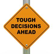 tough decisions ahead road sign - stock illustration