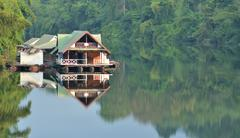 floating house, kwai river, thailand - stock photo