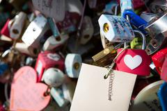 Many heart padlocks love symbol Stock Photos