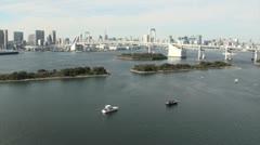Beautiful Tokyo skyline, bay area, and 'Rainbow bridge' Stock Footage