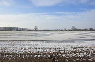 Stock Photo of icy arable fields