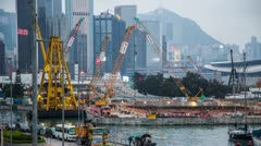 Time Lapse of Construction site and ship in action Stock Footage
