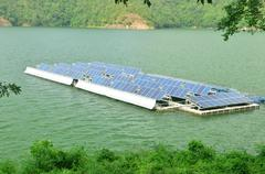 solar panels on the water. - stock photo