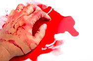 Stock Photo of halloween concept : hand in blood on a white background