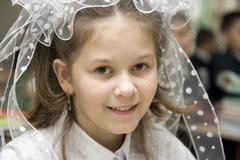 The schoolgirl on september, 1st Stock Photos