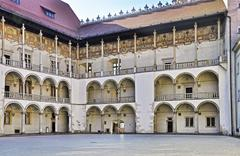 renaissance courtyard of wawel castle in krakow - stock photo