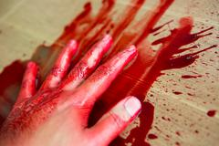 halloween concept : hand in blood - stock photo