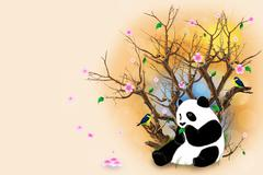 Beige greeting card with panda Stock Illustration