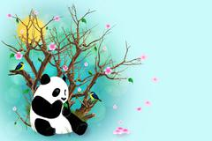 turquoise greeting card with panda - stock illustration