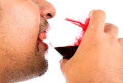 Halloween vampire drink blood on white background Stock Photos