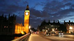 Parliament and Big Ben at night, London, England Stock Footage