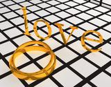 Gold wedding ring and love Stock Illustration