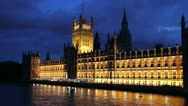 Parliament at night, London, England Stock Footage
