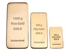 ingot of bank gold. - stock photo