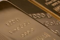 Ingot of bank gold. Stock Photos