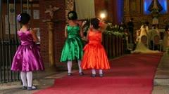 Little girls watching wedding ritual - stock footage