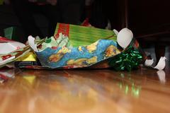 Torn Giftwrap - stock photo
