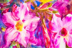abstract  hand painted flower  watercolor background - stock photo