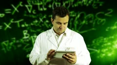 Scientist Using Tablet PC Scientific Mathematics Background Stock Footage
