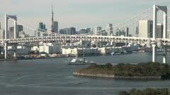 Japanese coastguard sails under Tokyo's Rainbow bridge, defense, navy Stock Footage