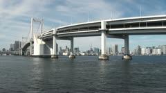 Beautiful Rainbow bridge and Tokyo skyline Stock Footage