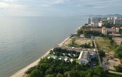 top view of the beach. thailand, hua hin - stock photo