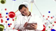 Young Scientist Tablet PC Phone Molecules BG Stock Footage