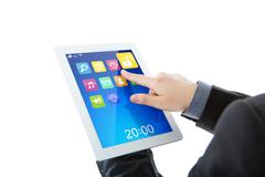 Business man use tablet pc computer with colorful application Stock Illustration