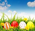 Easter eggs with flower on fresh green grass Stock Illustration