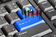 Silhouettes of business with red graph and earth on enter keyboard (elements  Stock Illustration