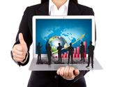 Business people hold laptop with silhouette people Stock Illustration