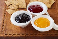 Jam selection for tasting Stock Photos